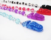 Beaded Pacifier Clip - 9 Color Options - Boy Girl Baby Gift - Plastic Clip - Binky Soother Gift set Crackle Glass Silver Plated