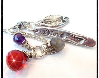 Custom VERSE - Recycled Silver + Gemstone Necklace - in YOUR WORDS, Stamped Silver Charms - Choice  of Wirewrapped Gemstones