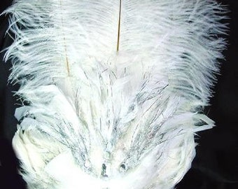 White Silver Ostrich Feather  Las Vegas Showgirl Headdress Cabaret Headpiece