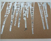 Winter Icicles – Letterpress Printed Card (5x7) on Chip Board, Blank on Inside