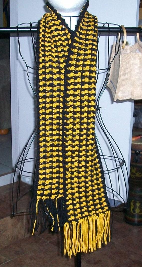 Black And Gold Handmade Crochet Scarf With Acrylic Yarn