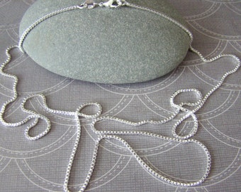 Sterling Silver Square Box Chain, .925 long chain