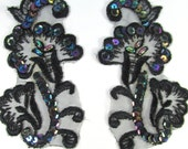 Black Iris AB Beaded and Sequined Orchid Appliques 4 x 2 inches for Costume or Bridal Trim
