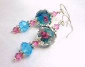 Turquoise & Pink Rose Lampwork Glass with Swarovski Crystal Earrings on Sterling Silver wires