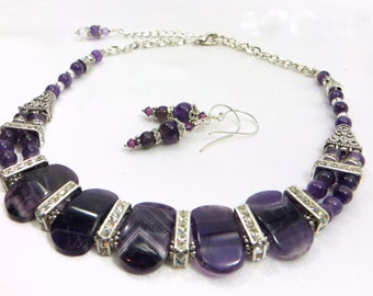 Purple Amethyst and Crystal Statement Necklace and Earring Set
