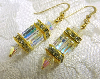 Swarovski Crystal AB Cube Lantern Earrings on 22k Bali Gold Vermeil Wires