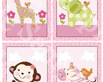 Set of 4 Unframed (Jungle Jill Girl Animals) 5x7  inch Linen Look Nursery Wall Art Prints Baby Children Kids Decor