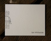 custom minifig letterpress note cards, set of 50