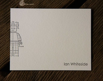 custom minifig letterpress note cards, set of 50 printed with your name