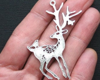 SALE 2 Large Reindeer Charms Antique  Silver Tone 2 Sided - SC1381