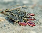 Tribal chandelier earrings. ruby shield charm beaded jewelry, Boho chic, Mothers Day gift idea