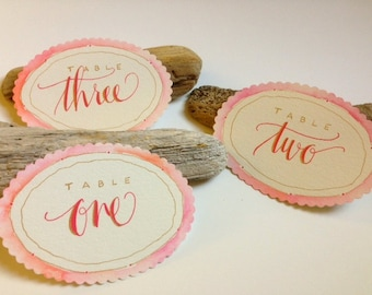 Custom Table Signs--Hand Lettered