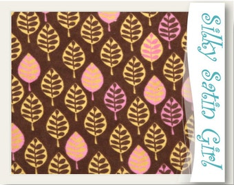 Nature Fabric - Twilight Leaves Flannel Material by the yard, brown, gold, pink, leaf pattern, outdoor - 1 yard