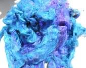 NEW Color Blue Carded Sari Silk Fiber Roving Form 4 Ounces So So Soft And VIVID