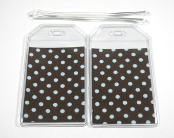 SALE Luggage Tags Set of 2 Blue Polka Dots