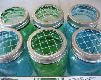 6 Mason Jar Lids, Flower Arrangement lids, Frog Lids, Wedding Mason Jars Lid, Flower lid Mason jar