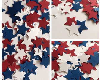 100 Star Confetti, Red White and Blue confetti, Star die cuts, 4th of July confetti, Confetti, Stars, Beach Party, Independence Day Party