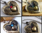 Brass Locket Necklace Angel Wings Locket Goth Necklace Heart Locket Pendant Heart With Wings Necklace