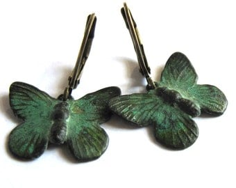 Verdigris Patina Butterfly Earrings Fashion Jewelry