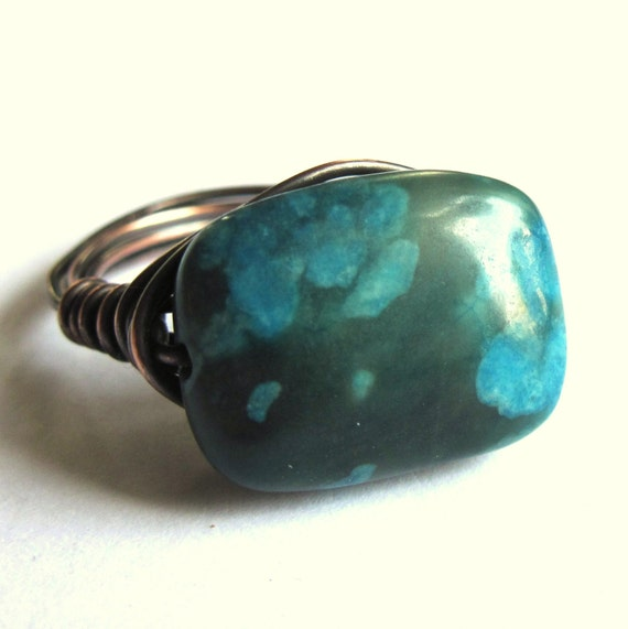 chrysocolla gemstone copper wire wrapped ring fashion jewelry