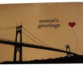 Season's Greetings St. John's Bridge set of 8 note cards Portland Oregon