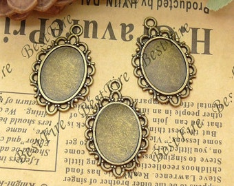 12 pcs of  Antique brass Oval Cabochon Pendant Base (Cabochon size 13x18mm),Pendant findings,tower findings