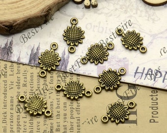 50PCS Of 10x17MM  Antique Bronze Connector Flower,metal finding,pendant beads,two holes Charms