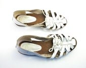 Vintage White Leather Woven Huarache Sandal Flats Size 7.5 or Small 8 Made in Brazil