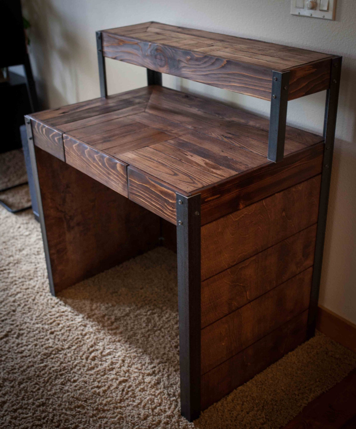 Superb img of Tiered Pallet Wood Desk with Drawer and Side by woodandwiredesigns with #2F1C14 color and 1245x1500 pixels