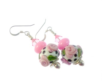 Flower Lampwork Earrings, Glass Bead Earrings, Pink Dangle Earrings, Glass Bead Jewelry, Beadwork Earrings, Lampwork Jewelry