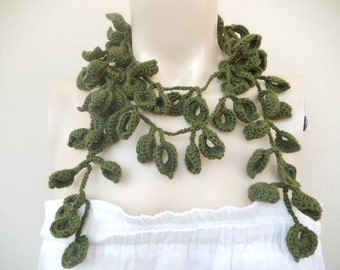 Avocado Green Scarf-Leaves  Necklace Scarf-Lariat Scarf-Handmade Long Scarf