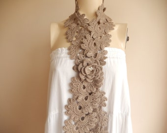 Taupe  Crochet  Scarf- Lariat Scarf-Skinny Handmade Scarf with Rose Pin-For Her Girlfriend Wife Mother