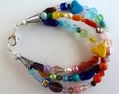 ON SALE 3 Strand Beaded Bracelet – Rainbow