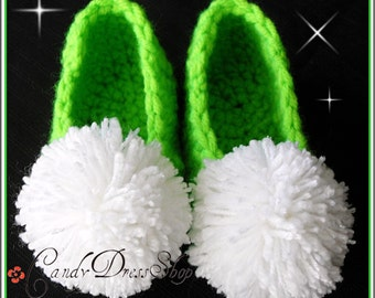 Tinkerbell inspired green slippers - Tinker Bell inspired shoes for girls (Available in sizes 0-3m. to 6 years) Green crochet slippers
