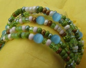 Olive Beige Mix Beaded Bracelet