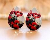 4pcs  18x25mm Handmade Photo Teardrop Glass Cabochon -Image Glass Cabochon-(Flower)-(HPGC-T-92)