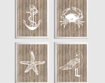 Beach Nautical Nursery Seagull Crab Anchor Starfish Wood Grain Kids Room Art Print more colors available set of 4