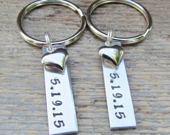 TWO Key Chains Small Tags Date Date Couples Hand Stamped Aluminum Metal Keychain Key Ring WEDDING SHOWER Anniversary Engagement Heart Charms