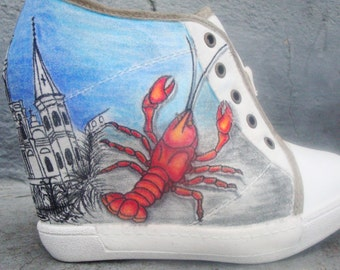 new orleans themed size 8 i do believe this shoes run small looks more like a 7 or 71/2