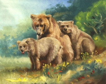 Brown Bears, Grizzly, wildlife animal 20x24 oils on canvas painting by RUSTY RUST / B-82