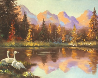 Tundra Swans, wildlife bird, landscape 24x36 oils on canvas painting by RUSTY RUST / S-105