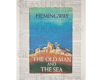 The Old Man and the Sea Book Cover on a Vintage Dictionary Page
