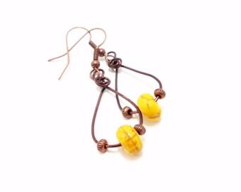 Gemstone Earrings- Howlite Earrings- Hoop Earrings- Copper Hoops- Yellow Earrings- Wire Wrapped Earrings- Dangle Earrings- Yellow Dangles