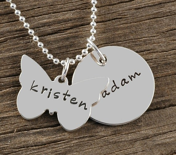 Personalized mothers Necklace - butterfly and round disc - Hand Stamped Jewelry