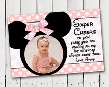 Baby Minnie Mouse 1st Birthday Thank You card