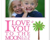 PRINTABLE - Valentines Day photo card with South Carolina Palmetto Moon Palm Tree with Red or Pink Heart String Lights