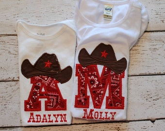 Personalized Cowboy Hat Initial Shirt or Bodysuit