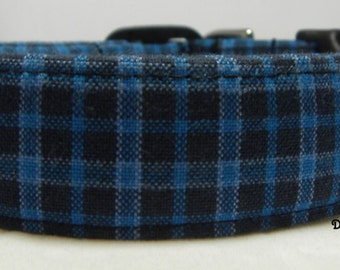 Dog Collar Classic Plaid in Blue and Black Rich Colors Adjustable Dog Collar with D Ring Choose Size
