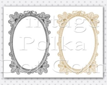 Antique Lace Frame Clip Art Victorian Graphics Printable Digital Instant Download Set of 2 Oval Photo Borders