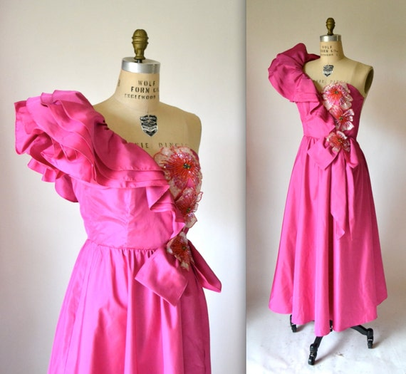 Vintage 80s Prom Dress in Pink with Ruffle Sleeve by Hookedonhoney